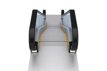 Modern Escalator or Electric Stairs on a white background. 3d Rendering