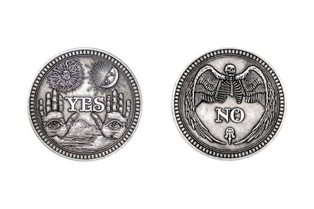 Vintage Silver Flipping Coin with Yes and No Word for Make the Right Choice, Opportunity, Fortune or Decision in Life on a white background Stock Photo