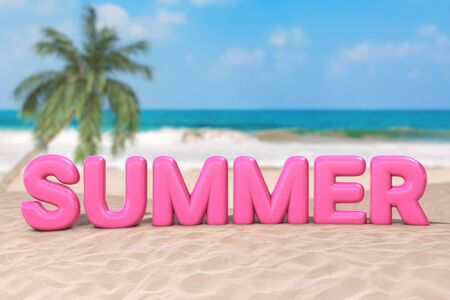 Summer Vacation Concept. Pink Bubble Summer Sign Word on an Ocean Deserted Coast extreme closeup. 3d Rendering