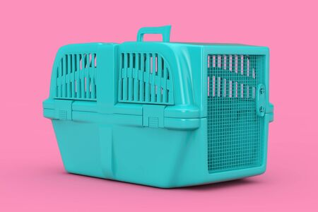 Blue Pet Travel Plastic Cage Carrier Box Mock Up Duotone on a pink background. 3d Rendering Archivio Fotografico - 129219229