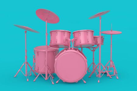 Pink Professional Rock Black Drum Kit Mock Up on a blue background. 3d Rendering