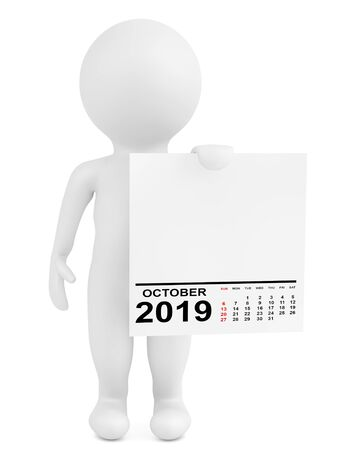 Character Holding Calendar Ocotber 2019 Year on a white background. 3d Rendering