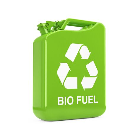 Eco Fuel Concept. Green Metal Jerrycan with Recycle anв Bio Fuel Sign on a white background. 3d Rendering