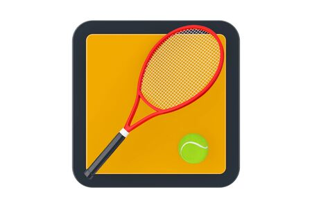 Tennis Racket with Tennis Ball Touchpoint Icon Button on a white background. 3d Rendering