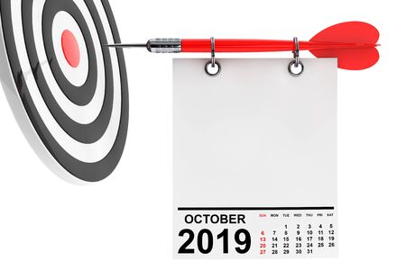 Calendar October 2019 on Blank Note Paper with Free Space for Your Design with Target. 3d Rendering Stok Fotoğraf