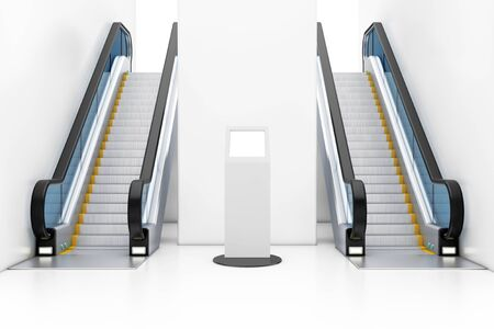 White Information Stands With Touch Screen Display between Modern Luxury Escalators on Indoor Building Shopping Center, Airport or Metro Station extreme closeup. 3d Rendering Stock Photo