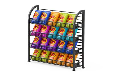 Dog Food Bag Packages Designon a Black Long Showcase Displays with Retail Shelves on a white background. 3d Rendering