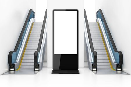 Blank Trade Show LCD Screen Stand as Template for Your Design between Modern Luxury Escalators on Indoor Building Shopping Center, Airport or Metro Station extreme closeup. 3d Rendering Stock Photo