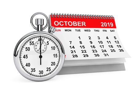 2019 Year October Calendar with Stopwatch on a white background. 3d rendering Stok Fotoğraf