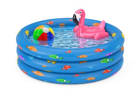 Summer Swimming Pool Inflantable Rubber Pink Flamingo Toy in Blue Rubber Inflatable Childrens Pool on a white background. 3d Rendering Standard-Bild