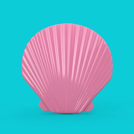 Beauty Pink Scallop Sea or Ocean Shell Seashell Mock Up Duotone on a blue background. 3d Rendering