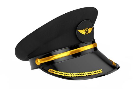 Civil Aviation and Air Transport Airline Pilots Hat or Cap with Gold Aviation Insignia on a white background. 3d Rendering