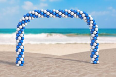 Summer Vacation Concept. White and Blue Balloons in Shape of Arc, Gate or Portal on an Ocean Deserted Coast extreme closeup. 3d Rendering