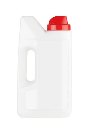 White Plastic Detergent Container Bottle Mock Up with Blank Space for Yours Design on a white background Stok Fotoğraf - 129219494
