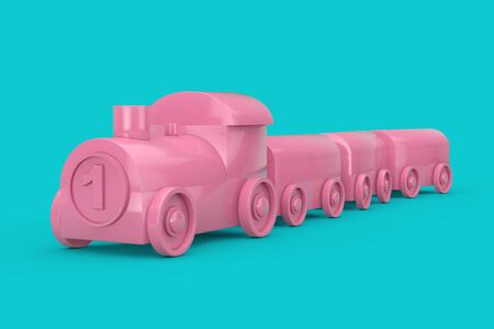 Children Toy Pink Plastic Train Mock Up Duotone on a blue background. 3d Rendering