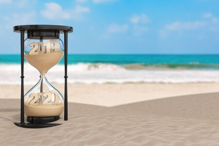 2020 New Year Vacation Concept.  Sand Falling in Hourglass Taking the Shape from 2019 to 2020 year on an Ocean Deserted Coast extreme closeup. 3d Rendering Stock fotó