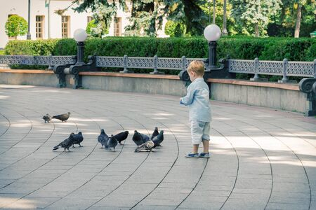 Toddler Happy Boy Feeding Pigeons in the Summer Park extreme closeup Stock Photo