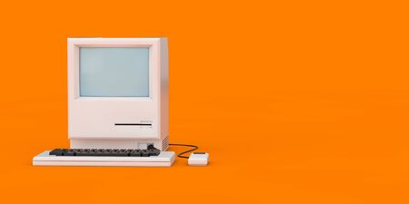 Retro Personal Computer. The System Unit, Monitor, Keyboard and Mouse on an orange background. 3d Rendering