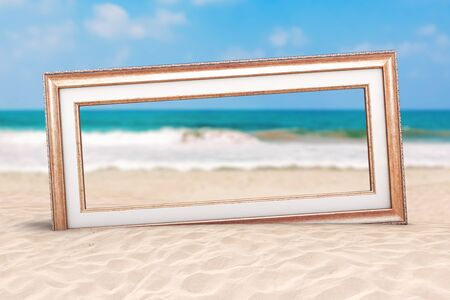 Summer Vacation Concept. Wooden Vintage Frame on an Ocean Deserted Coast extreme closeup. 3d Rendering