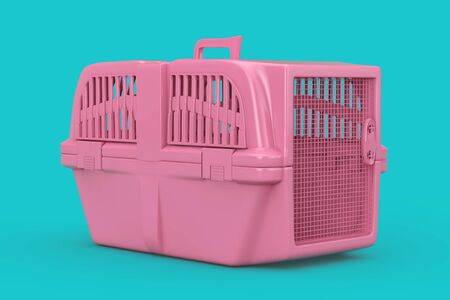 Pink Pet Travel Plastic Cage Carrier Box Mock Up Duotone on a blue background. 3d Rendering Фото со стока