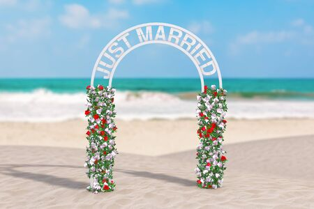 Beautiful Wedding Decor Arch with Flowers and Just Married Sign on an Ocean Deserted Coast extreme closeup. 3d Rendering