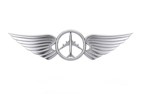 Silver Pilot Wing Emblem, Badge or Logo Symbol on a white background. 3d Rendering Stock Photo