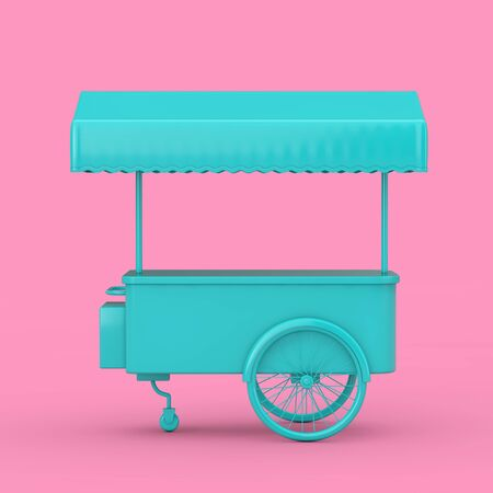 Blue Retro Ice Cream Trolley Cart Mock Up Duotone on a pink background. 3d Rendering