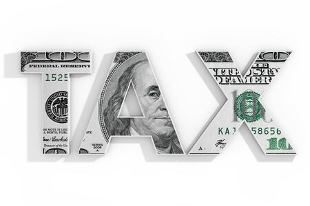 TAX Concept. Word Tax Written with Dollar Bill on a white background. 3d Rendering 스톡 콘텐츠