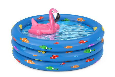 Summer Swimming Pool Inflantable Rubber Pink Flamingo Toy in Blue Rubber Inflatable Childrens Pool on a white background. 3d Rendering Stock fotó
