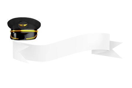 Civil Aviation and Air Transport Airline Pilots Hat or Cap with Gold Aviation Insignia over Blank Ribbon for Your Sign on a white background. 3d Rendering 스톡 콘텐츠