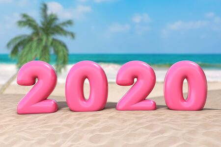 New Year Vacation Concept. Pink 2020 Happy New Year Sign on an Ocean Deserted Coast extreme closeup. 3d Rendering