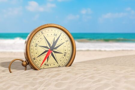 Glossy Bronze Vintage Compass with Windrose on an Ocean Deserted Coast extreme closeup. 3d Rendering