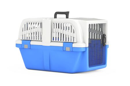 Blue Pet Travel Plastic Cage Carrier Box on a white background. 3d Rendering Archivio Fotografico - 129219973