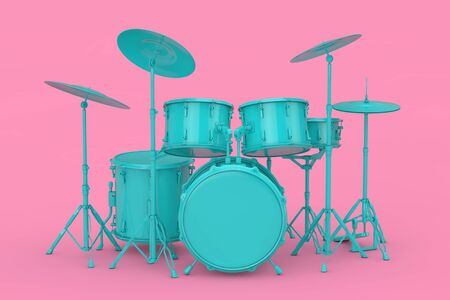 Blue Professional Rock Black Drum Kit Mock Up on a pink background. 3d Rendering Stock Photo - 129219971