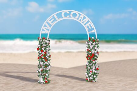 Summer Vacation Concept. Beautiful Decor Arc, Gate or Portal with Flowers and Welcome Sign on an Ocean Deserted Coast extreme closeup. 3d Rendering Stock Photo