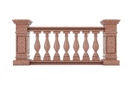 Classic Red Marble Pillars Balustrade with Columns on a white background. 3d Rendering