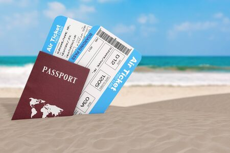 Summer Travel Concept. Airline Boarding Passengers Tickets with Passports on an Ocean Deserted Coast extreme closeup. 3d Rendering Stockfoto