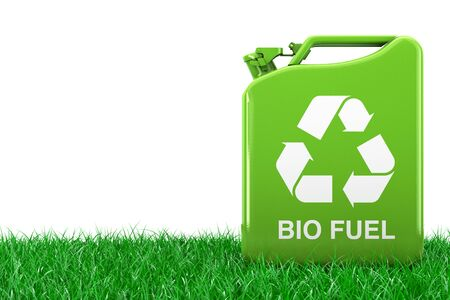 Eco Fuel Concept. Green Metal Jerrycan with Recycle and Bio Fuel Sign in Green Grass on a white background. 3d Rendering