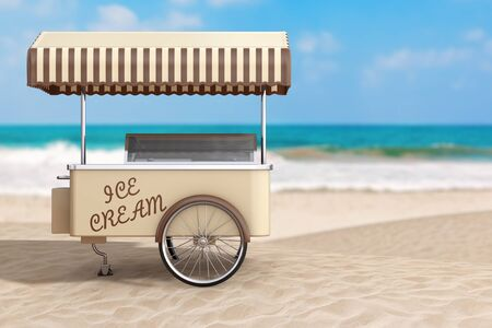 Summer Vacation Concept. Ice Cream Cart on an Ocean Deserted Coast extreme closeup. 3d Rendering