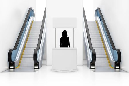 Woman Promoter Silhouette Behind of Blank Advertising Promotion Banner Stand between Modern Luxury Escalators on Indoor Building Shopping Center, Airport or Metro Station extreme closeup. 3d Rendering
