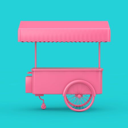 Pink Retro Ice Cream Trolley Cart Mock Up Duotone on a blue background. 3d Rendering
