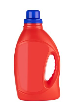 Red Plastic Detergent Container Bottle Mock Up with Blank Space for Yours Design on a white background