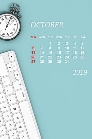 2019 year calendar. October calendar with Stopwatch and Keyboard. 3d Rendering