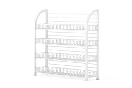 White Long Empty Showcase Displays with Retail Shelves on a white background. 3d Rendering Фото со стока