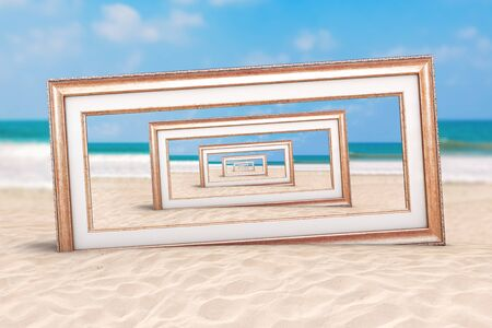 Summer Vacation Concept. Infinity View Through Wooden Vintage Frame on an Ocean Deserted Coast extreme closeup. 3d Rendering