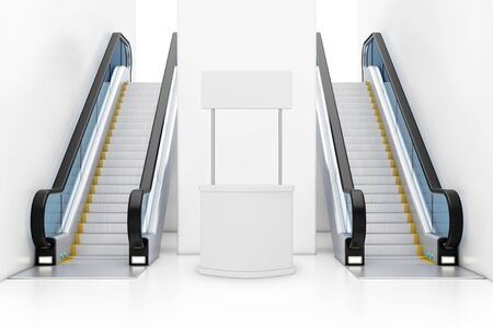 Blank Advertising Promotion Banner Stand between Modern Luxury Escalators on Indoor Building Shopping Center, Airport or Metro Station extreme closeup. 3d Rendering