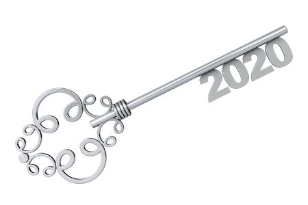 Silver Vintage Key with 2020 year Sign on a white background. 3d Rendering Reklamní fotografie
