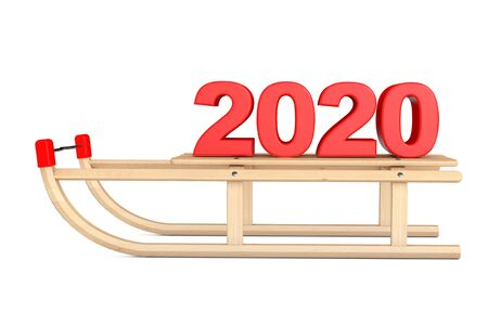 Classic Wooden Sled with 2020 New Year Sign on a white background. 3d Rendering Reklamní fotografie
