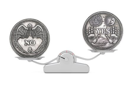 Vintage Silver Flipping Coin with Yes and No Word for Make the Right Choice, Opportunity, Fortune or Decision in Life balancing on a Simple Balance Scale on a white background. 3d Rendering Banco de Imagens