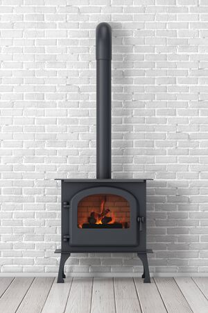 Classic �žpen Home Fireplace Stove with Chimney Pipe and Firewood Burning in Red Hot Flame in front of brick wall. 3d Rendering